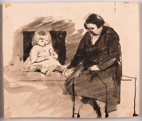 Woman and child seated on a bed