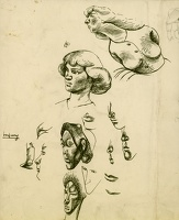 Sheet with studies of faces in profile
