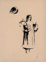 Sketch of a woman carrying pot plants