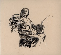 Sketch of a seated woman carrying...
