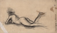Artist Albert de Belleroche: Study of a model reclining on her front, her right leg raised