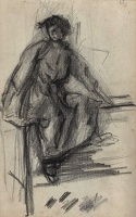 Artist Albert de Belleroche: Portrait study of a woman seated atop a bench