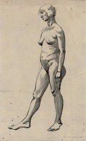 Artist Winifred Knights: Full Length Standing Nude, profile view, pen ink and wash, circa 1920