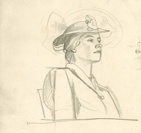 Artist Evelyn Dunbar: Profile portrait waist length, seated woman with hat