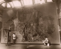 Artist Frank Brangwyn: The artist working on the Rockefeller Murals, at The Brighton Pavillion