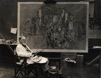 Artist Frank Brangwyn: The artist working on a study for Rockefeller Murals