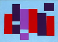 Artist Kathleen Guthrie: Verticals (light blue ground), circa 1970