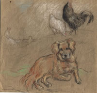 The Artists Dog with Fowl, circa 1900