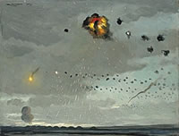 Anti-aircraft batteries attack, 1944