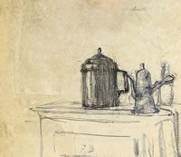 Still life of jugs, circa 1890