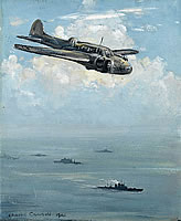 Avro Anson of Coastal Command above...