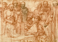 The death of St. Aidan. Sketch for...
