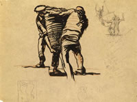 Artist Frank Brangwyn: Men carrying a basket -Study for Court of the Ages, Panama-Pacific International Exposition, San Francisco, 1914