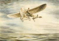 Louis Bleriot flying the English...