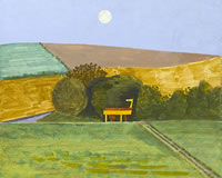 Artist Kenneth Rowntree: Landscape with threshiing machine