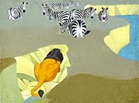 Lion stalking zebras 1934