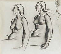 Studies of Seated Female Nude,